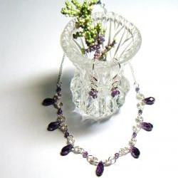 Purple Crystal Beaded Choker Necklace and Earrings Set